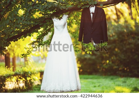 wedding dress costume bride so the groom on a tree in the park - stock photo