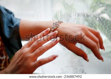 Wedding dress detail - stock photo