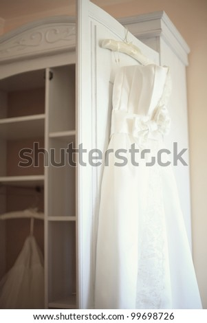 wedding dress in the room