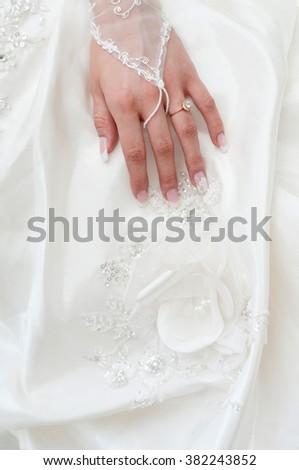 Wedding dress with a flower - stock photo