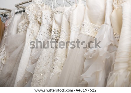 Wedding Dresses in dress store.