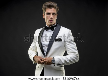 Wedding, Elegant and handsome man dressed in tuxedo for New Year's Eve or party