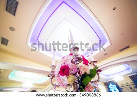 Wedding event decoration. Table setting. Shallow depth of field. Wide angle shot. - stock photo