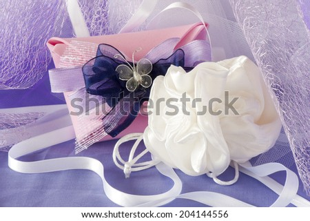 wedding favors for wedding and first communion - stock photo