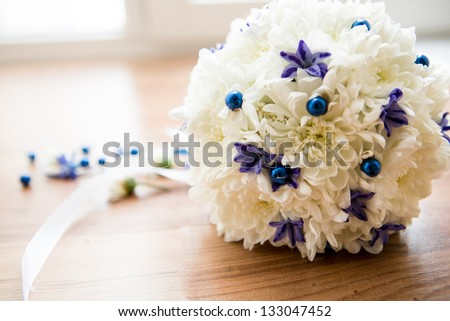 wedding flowers from white and blue orchids - stock photo