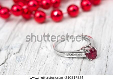 Wedding gift or Engagement Ring - stock photo
