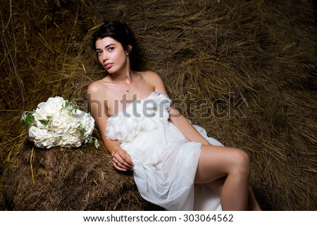 wedding girl bride outdoor park  - stock photo