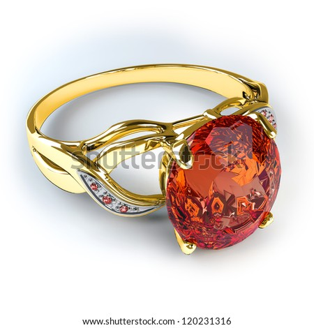 Wedding gold ring isolated on white background - stock photo