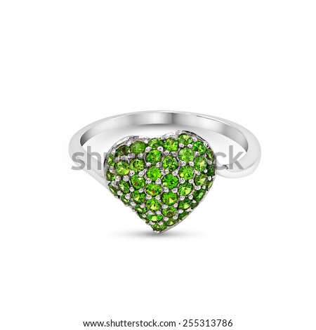 Wedding  green heart gem Ring isolated on white background - stock photo