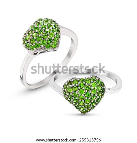 Wedding green hearts gem Ring isolated on white background - stock photo
