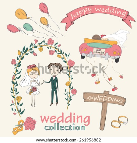 Wedding hand drawn doodle collection for wedding ceremony organizer. Just married couple in retro car dragging cans. Bride and groom under an flower arch. - stock photo