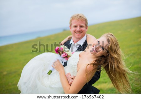 Wedding, Happy couple in love, shallow depth of field focus on bride - stock photo
