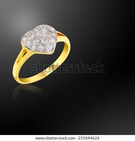 Wedding Heart Diamond Ring on abstract blur background - stock photo