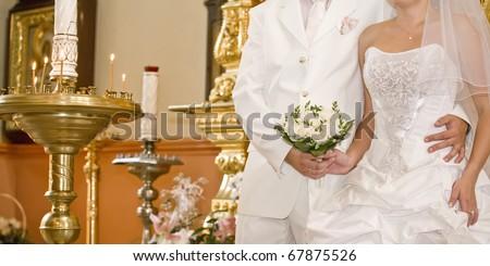 Wedding in Orthodox church - stock photo