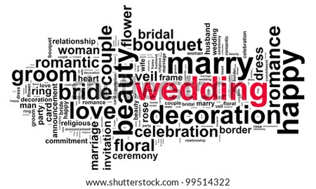 Wedding info text graphic and arrangement concept on white background - stock photo