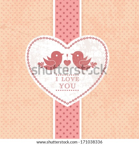 Wedding invitation card, scrapbook background. I Love You. Perfect as invitation or announcement. - stock photo