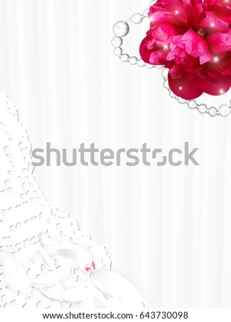 Wedding invitation card, with flower, lace, petal and necklet. Empty space for text.