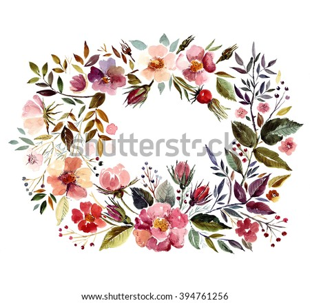 Wedding invitation template with watercolor floral wreath. Perfect for wedding invitations, greeting cards, logos, labels, badges, packaging, stationary, posters, websites and other.  - stock photo