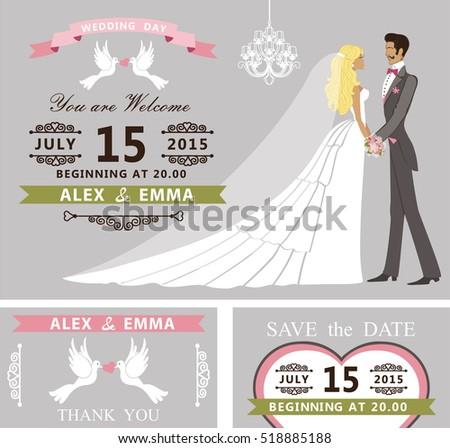Wedding Invitation Cartoon Couple Bride Groom Retro Stock