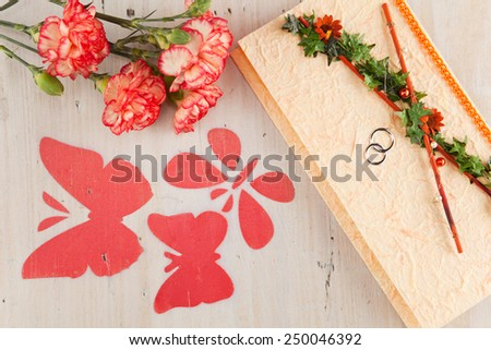Wedding invitation with flowers and butterflies - stock photo