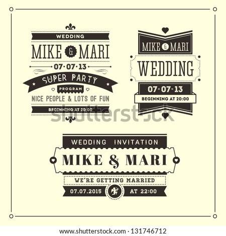 Wedding invitations typographics - stock photo