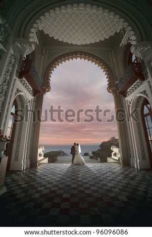wedding kiss in the palace - stock photo