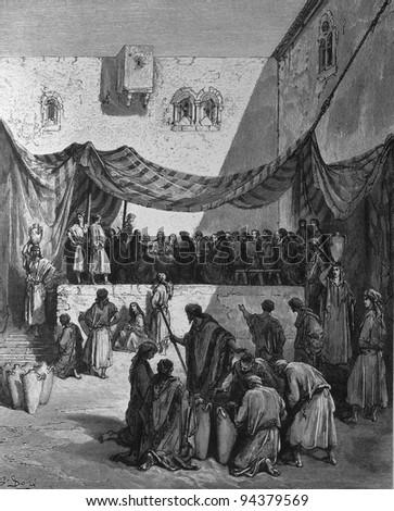 Wedding. 1) Le Sainte Bible: Traduction nouvelle selon la Vulgate par Mm. J.-J. Bourasse et P. Janvier. Tours: Alfred Mame et Fils. 2) 1866 3) France 4) Gustave Doré - stock photo