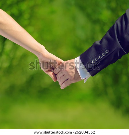 Wedding, love and relationships concept - sweet couple, hands bride and groom, fresh summer photo - stock photo