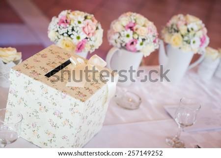 Wedding money box. Wedding envelope box, wedding table decoration. - stock photo