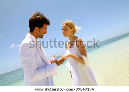 Wedding on a white sandy beach - stock photo