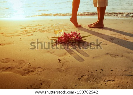 wedding on the tropical beach - stock photo