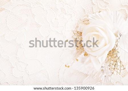 Wedding ornament. Satin golden flower - stock photo