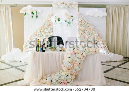Wedding Party Decor. Bride And Groom Table.