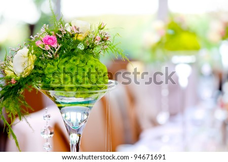 wedding party decoration - colorful flowers and defocused pastel background - stock photo