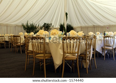 Wedding party held after marriage in restaurant gazebo, joyful occasion - stock photo