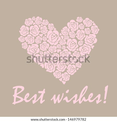 Wedding pastel card with heart. Raster copy of vector image - stock photo