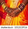 wedding pattern on hands - stock photo