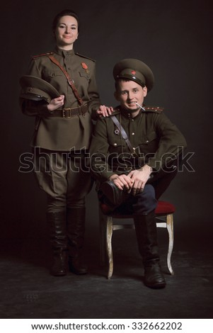 Wedding photography Soviet military - stock photo