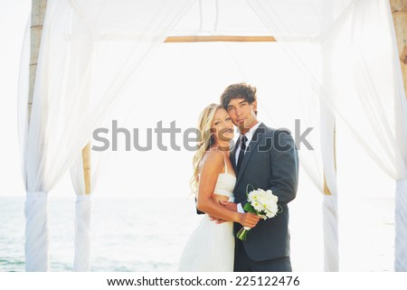 Wedding, Portrait of Happy Bride and Groom on Wedding Day - stock photo