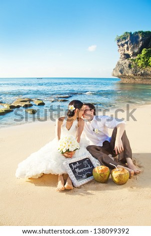 wedding portrait with cocktails - stock photo