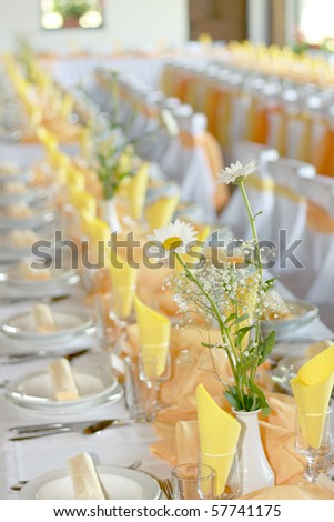 wedding reception place ready for guests, colorized photo, high key - stock photo