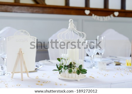 Wedding reception table decorations - stock photo