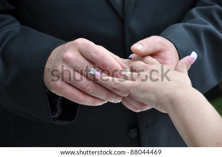 Wedding Ring Ceremony Groom Placing on Brides Hand