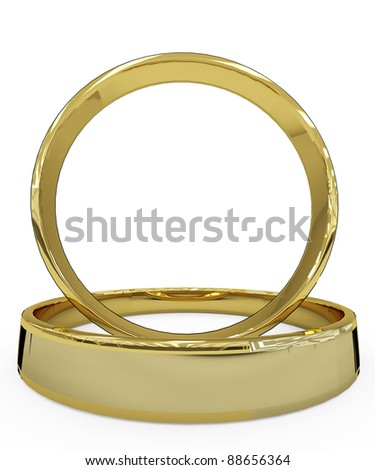 wedding ring front view - stock photo