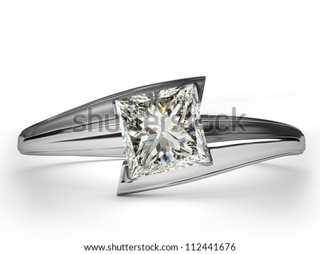 Wedding Ring gift isolated. Close Up of a White Gold Ring with Diamonds. Beautiful sparkling diamond on a light reflective surface. - stock photo