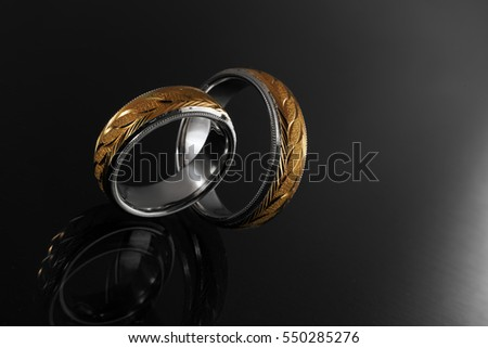 Wedding ring, gold jewelry with diamonds