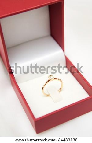 Wedding ring in box - stock photo