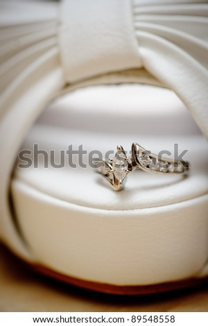 Wedding ring on the brides shoe