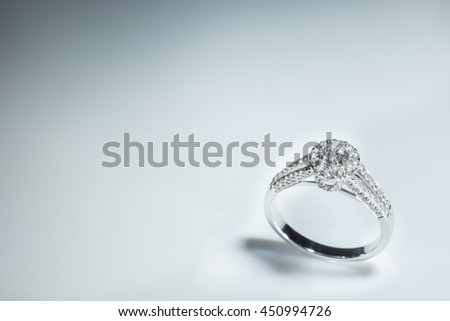 Wedding ring with diamond. Sign of love. Fashion jewelry - stock photo