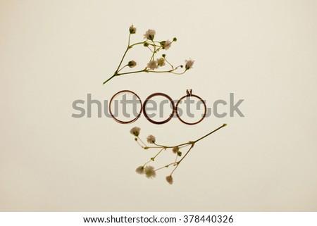 Wedding rings and gypsophila twigs - stock photo
